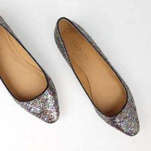 Talbots Rainbow Sparkle Glitter Point Ballet Flats